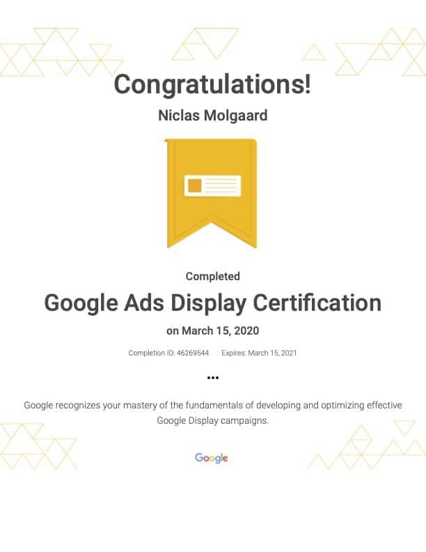 Google ads display certifikat